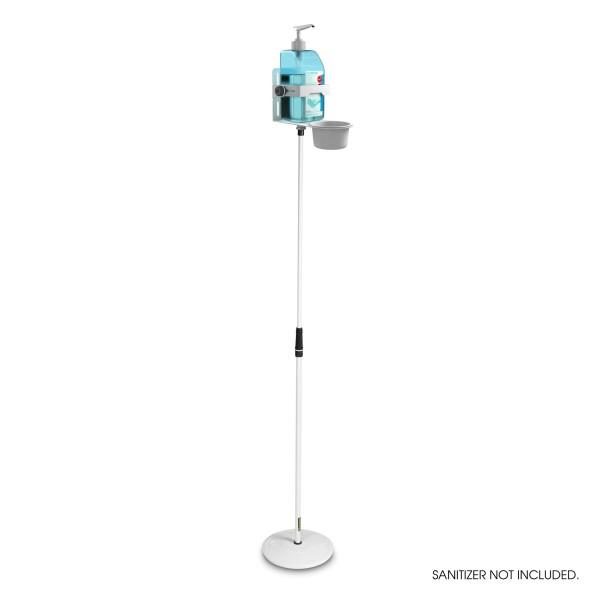 Höhenverstellbarer Desinfektionsmittelständer mit Universal Halter Weiß